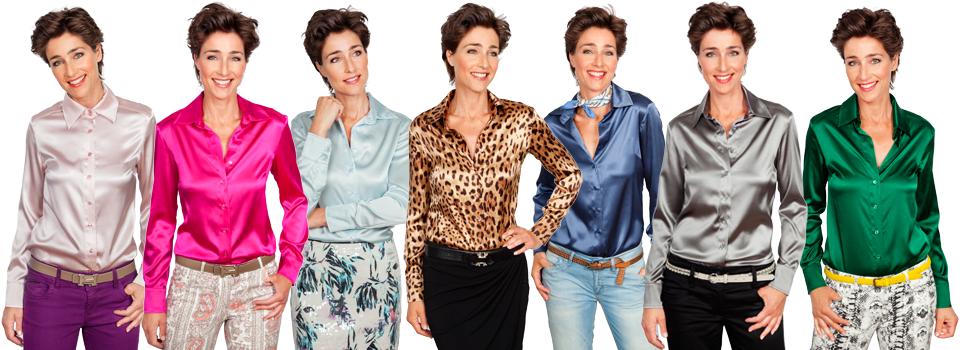 zijden blouses in diverse kleuren