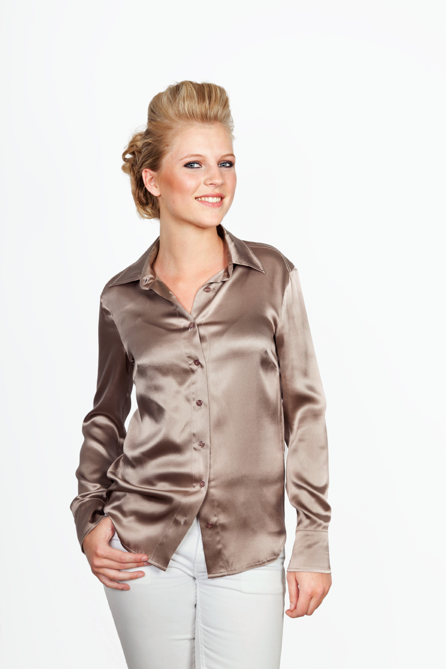 Zijden Blouse Taupe 121